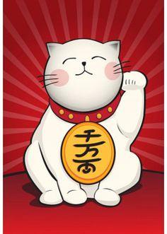 Maneki Neko (Lucky Cat) Art Poster Print Póster
