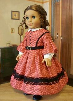 """1850's Day Gown - Made to Fit 18"""" American Girl Doll Cecile or Marie-Grace"""