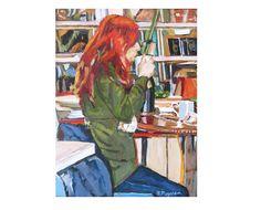 Redhead in Coffee Shop Original Figurative red by GwenMeyerson, $350.00