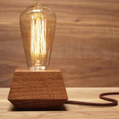 Order the Boxcar Electric - Walnut lamp for your home or office. Shop The Apollo Box for handcrafted wood items and unique lighting. Wood Lamp Base, Table Lamp Wood, Wood Lamps, Desk Lamp, Diy Luz, Apollo Box, Bright Homes, Rustic Lamps, Industrial Lamps