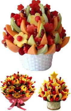 38 New ideas for fruit bouquet ideas diy edible arrangements Fruit Smoothies, Fruit Snacks, Fruit Recipes, Diy Snacks, Fruit Food, Veggie Food, Edible Fruit Arrangements, Edible Bouquets, Deco Fruit