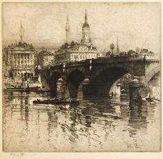 London Bridge, artist's proof by Hedley Fitton 1943 etching with drypoint Mass Drawing, City Drawing, Drawing Sketches, Art Drawings, Landscape Drawings, City Landscape, Landscapes, Building Drawing, Architecture Sketchbook