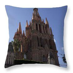 San Miguel De Allende St Michael  La Parroquia Throw Pillow by Cathy Anderson