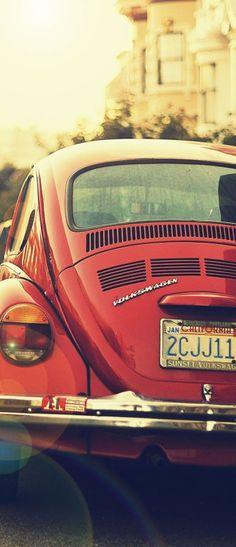 Vintage Red Volkswagen Beetle