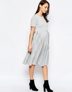 3d362cb9b4009 Image 4 of ASOS Maternity Midi Dress With Pleats Place to purchase at link  Maternity Midi