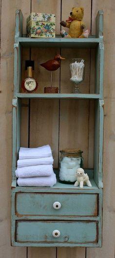 Wood Furniture Storage - Shelf - Shabby - Cottage Chic Decor - Bathroom - Kitchen. #ShabbyCottage