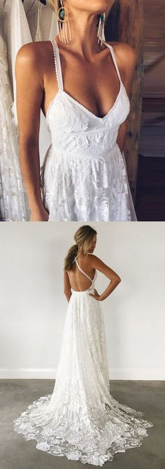 dreamy backless wedding dresses with train, fashion v-neck wedding gowns P2094 #weddinggowns