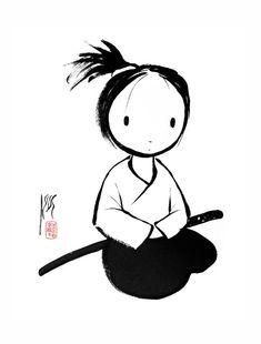"Cute, or should I say, KAWAII ""Aikido, Master Self-Defense to Protect Yourself Kendo, Jiu Jitsu, Karate, Muay Thai, Aikido Martial Arts, Peace Art, Tinta China, Asian Art, Japanese Art"