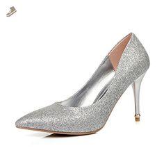 BalaMasa Ladies Sequin Low-Cut Uppers Electroplate Heel Silver Blend Materials Pumps-Shoes - 7.5 B(M) US - Balamasa pumps for women (*Amazon Partner-Link)