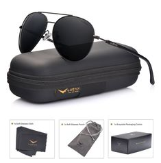 dac8691c2d LUENX Men Aviator Sunglasses Polarized Women - UV 400 with case 60MM   fashion  clothing  shoes  accessories  mensaccessories ...