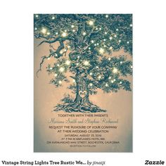 Custom Vintage String Lights Tree Rustic Wedding Invites created by jinaiji. This invitation design is available on many paper types and is completely custom printed. Country Wedding Invitations, Wedding Invitation Templates, Wedding Themes, Wedding Stationery, Wedding Ideas, Wedding Set, Oak Tree Wedding, Trendy Wedding, Wedding Inspiration