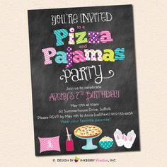 Pizza and Pajamas Party Invitation - Chalkboard Style with Pillow, Pizza, Popcorn and Bunny Slippers by inkberrycards on Etsy https://www.etsy.com/listing/229298185/pizza-and-pajamas-party-invitation