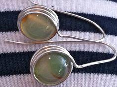 Green Agate EarringsWire Wrapped Silver by JoJosgems on Etsy, $16.00