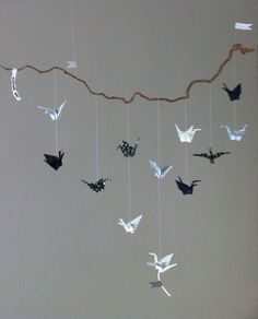 my version of the paper crane mobile spray painted branch and beautiful cranes next step make. Black Bedroom Furniture Sets. Home Design Ideas