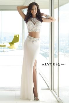 Alyce Paris 6391 2pc Jersey Prom Dress- Two piece jersey long prom dress with sweetheart beaded illusion neckline. The intricate beadwork continues to the back and accents the top of the slit skirt with train.