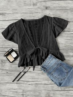 Young Boho Plain Regular Fit Deep V Neck Cap Sleeve Butterfly Sleeve Pullovers Black Crop Length Plunging Vneckline Knot Frill Hem Dip Hem Top -  #Highfashion #VogueClothes