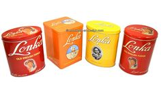Retro tins by Lonka Old English Fudge, soft Caramel Retro tins by Lonka.   A lovely set of no less than four Retro tins by Lonka in a near mint condition. Wonderful tins with a nostalgic touch. In the colors red, orange and yellow.  see: http://www.retro-en-design.co.uk/a-44765454/tins/retro-tins-by-lonka-old-english-fudge-soft-caramel/