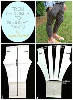 From leggings to slouchy pants - Pattern Hack. Pantalon Slouchy, Slouchy Pants, Sewing Patterns Free, Sewing Tutorials, Clothing Patterns, Free Sewing, Tutorial Sewing, Pants Tutorial, Shirt Patterns