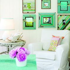 Small house interior design ideas.  Love these green picture frames.