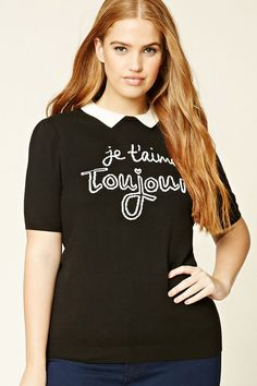 """Forever 21+ - A ribbed knit top featuring a front French """"Je T'aime Toujours"""" graphic, a contrasting basic collar, shirred short sleeves, and ribbed trim."""