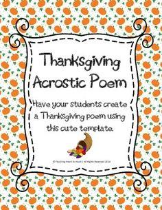 Thanksgiving Acrostic Poem Thanksgiving Writing, Thanksgiving Activities, Math Activities, School Ideas, Student, Templates, Teaching, Words, Blog