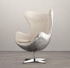 Merveilleux Egg Chair Aviator   дизайнерское кресло с алюминиевой обшивкой. Культовое  кресло.