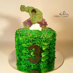 THE HULK  Cakes don't get any tougher than this hulk cake covered in green butter cream with a hulk edible image on top  www.cakesbythelake.com.au