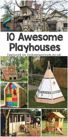 10 awesome playhouses for the back garden this summer, a mix of playhouses available to buy or DIY #toddlerplayhouse