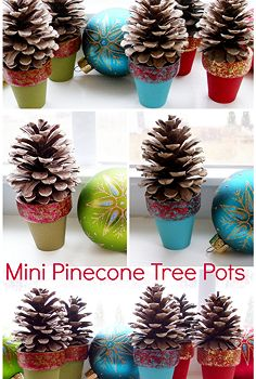 pinecone craft mini pinecone tree pots, christmas decorations, crafts, seasonal holiday decor, Using small pinecones found in our backyard I made these sweet little holiday decorations