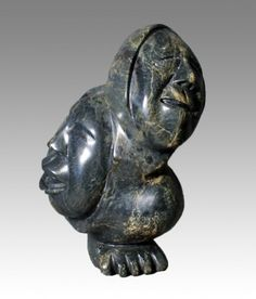 """Faces by Inuit artis Kelly Qimirpik, Style: Transformation Art, Location:Kinngait (Cape Dorset), Year: 2008, Material: Stone,  Dimensions: H 12"""" X W 9"""" X D 8"""" $2400"""