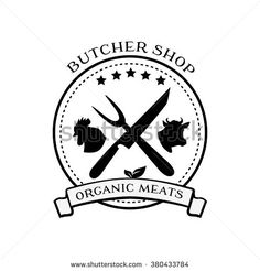 Butcher shop logo design elements, labels and badges in vintage style. Butcher shop logo, meat label template. Idea of logo for butcher shop and farm market. Meat label, fresh meat stamp. Organic meat