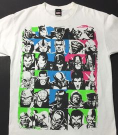 Marvel Mad Engine T-Shirt w/30 Faces - Size Large - White Green, Pink and Blue - Heroes and Villains
