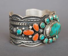 Turquoise and coral bracelet from Quintana Galleries: Jewelry Southwest