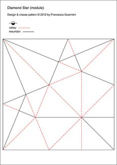 CP, modulo: Stella aquilone - Kite Star by Francesco Guarnieri Origami And Kirigami, Origami Paper Art, Paper Crafts, Diy Art Projects Canvas, Origami Architecture, Origami Patterns, Origami Design, 3d Wall Art, Paper Folding