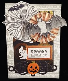 Spooky Salutations Halloween Card by ChristineNewYorkCity on Etsy 2018 Halloween Prints, Halloween Cards, Halloween Ideas, Paper Rosettes, Anna Griffin Cards, Paper Stars, Scrapbook Cards, Paper Crafts, Diorama