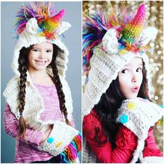 Crochet Hoods Ravelry: Rainbow Unicorn Hooded Scarf pattern by Keri Palbicki (Lily And Mason) - Rainbow Unicorn Hooded Scarf with Pockets Crochet Kids Scarf, Crochet Hooded Scarf, Crochet Beanie, Crochet Scarves, Crochet For Kids, Crochet Baby, Hooded Cowl, Hooded Blanket, Diy Crochet