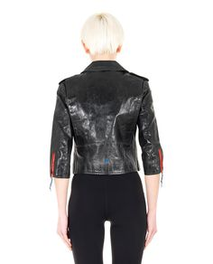 HTC SHORT LEATHER STUDDED JACKET Black leather jacket worn out look V-neck 3/4 sleeves with zippered cuffs two front zippered pockets belt loops cross zipper closure 100% Leather  Lining: 100% VI