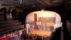 The Britannia Panopticon, a view of the stage all lit up, taken from the balcony.