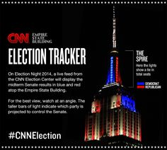 November 4, 2014: In honor of Election Day, the Empire State Building teams up with CNN to display the results of the 2014 midterm Senate races.