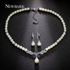 NEWBARK Wedding Sets Simulated  Pearl Jewelry White And Rose Gold Plated Bridal Strand Earrings And Necklace Gifts For Women