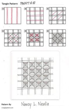 Online instructions for drawing Nancy Newlin's Zentangle® pattern: Panthe.