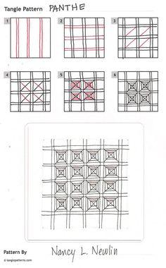 Online instructions for drawing Nancy Newlin's Zentangle® pattern: Panthe.