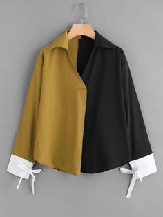 Casual Colorblock and Knot Top Oversized Collar and V Neck Long Sleeve Multicolor Color Block Contrast Cuff Tie Blouse Muslim Fashion, Hijab Fashion, Korean Fashion, Tie Blouse, Shirt Blouses, Teen Fashion Outfits, Fashion Dresses, Mode Turban, Moda Outfits