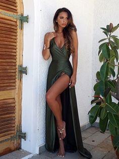 A Line Backless Dark Green Prom Dresses, Backless Green Formal Dresses, Backless Green Graduation Dresses #greenpromdress #promdress #promdresses #greendress #prom2018 #promdress2018 #greenformaldress #formaldress #graduationdress #graddress