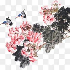 حبر، ألوان مائية، الزهرات, ألوان مائية, حبر، الزهرات PNG و PSD