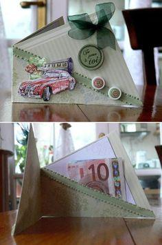 Carte-pochette faite d'un rectangle plié en deux et en diagonale - tutoriel en vidéo Diy And Crafts, Gift Wrapping, Sachets, Cards, Blog, Gifts, Masculine Cards, Creative Crafts, Handkerchief Dress