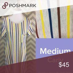 Medium Lularoe Carly dress Gray background with multicolored stripe LuLaRoe Dresses High Low