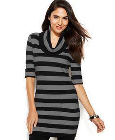 INC International Concepts Petite Short-Sleeve Cowl-Neck Striped Tunic Sweater