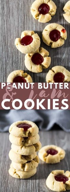 Peanut Butter & Jam Thumbprint Cookies – Deliciously soft and crispy thumbprint cookies loaded with peanut butter and filled with raspberry jam. The perfect cookies for PB&J lovers! Jam Cookies, Ginger Cookies, Yummy Cookies, Cookies Et Biscuits, Chip Cookies, Peanut Butter Thumbprint Cookies, Peanut Butter Biscuits, Peanut Butter Recipes, Köstliche Desserts