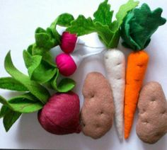 Vegetables from felt for children